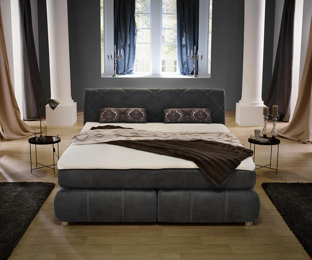 boxspringbett roan 180x200 cm anthrazit matratze topper m bel betten boxspringbetten. Black Bedroom Furniture Sets. Home Design Ideas