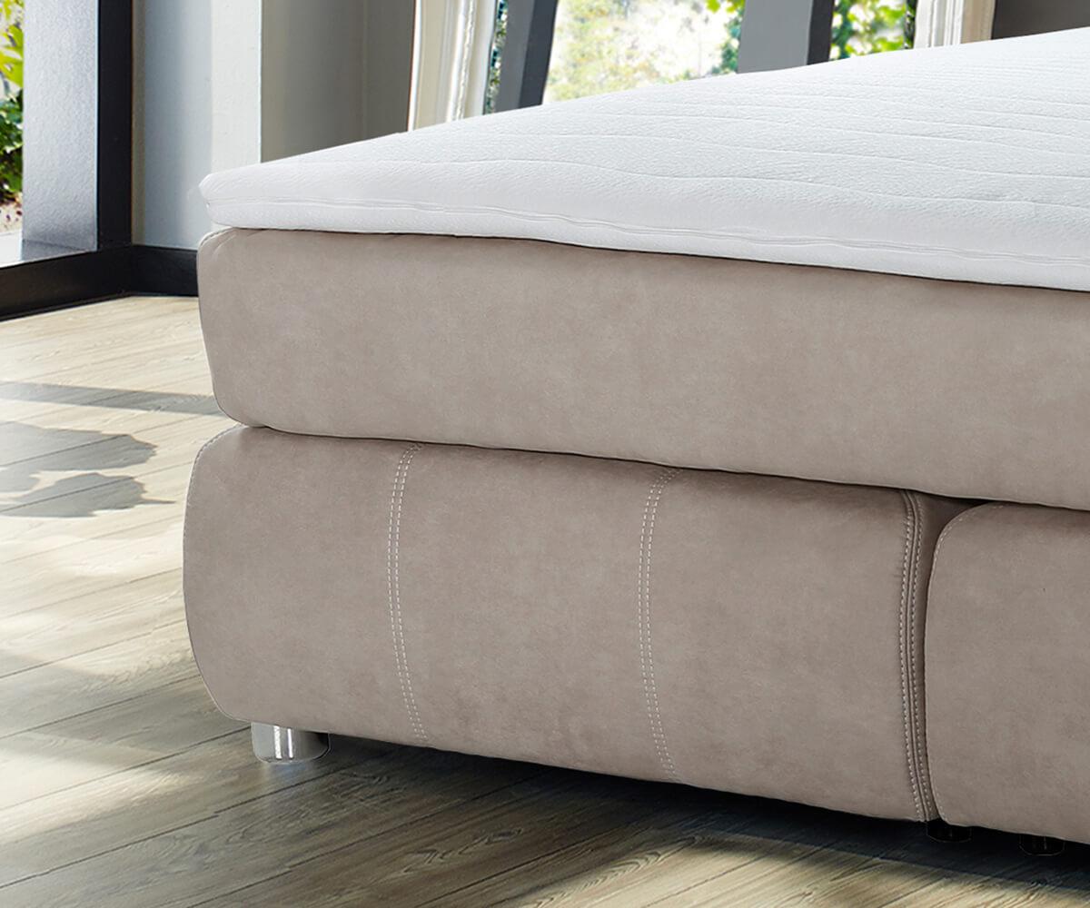 bett roan beige 180x200 cm tonnentaschen federkern topper vintage boxspringbett. Black Bedroom Furniture Sets. Home Design Ideas