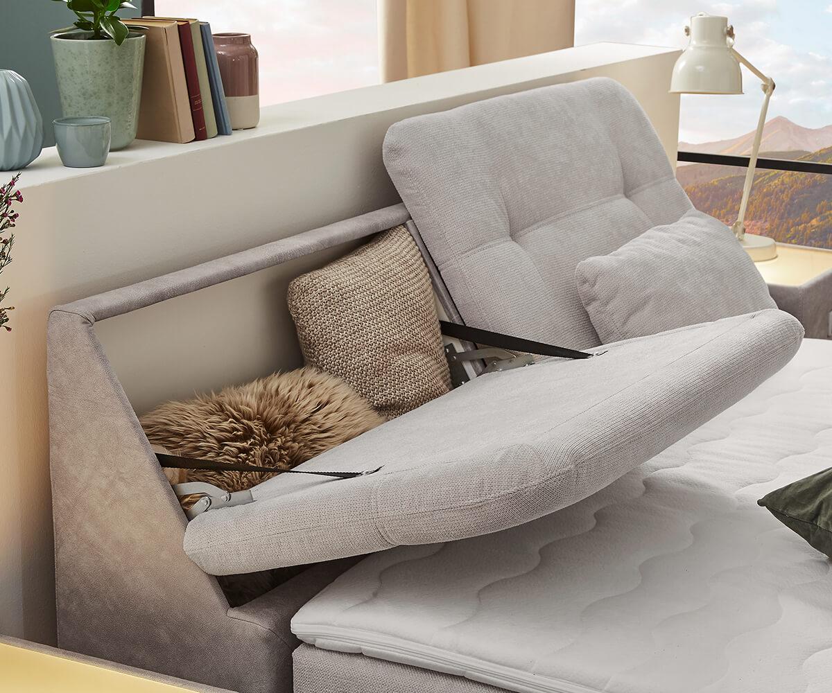 bett vaito grau beige 180x200 cm tonnentaschen federkern topper boxspringbett. Black Bedroom Furniture Sets. Home Design Ideas