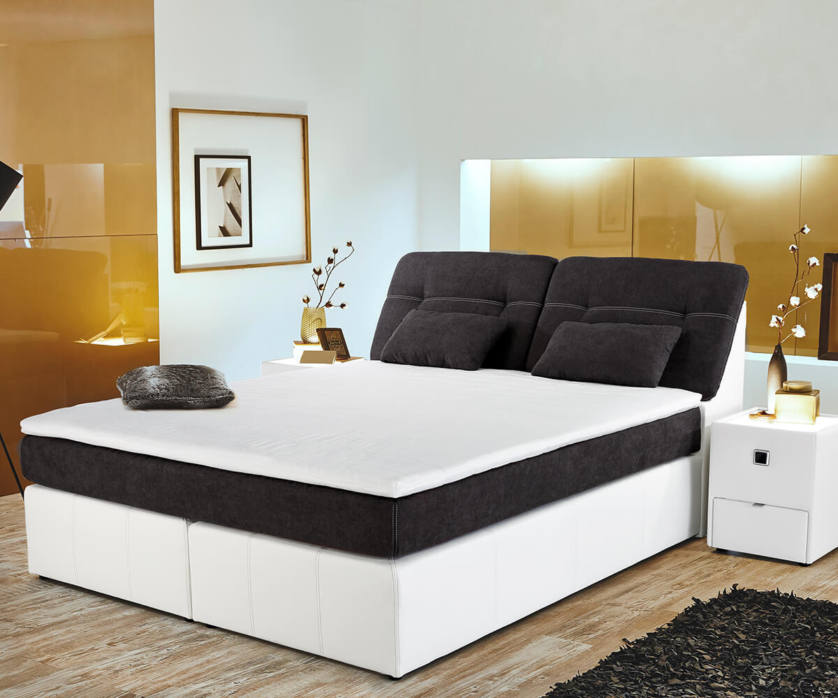 boxspringbett vaito 180x200 weiss anthrazit matratze. Black Bedroom Furniture Sets. Home Design Ideas