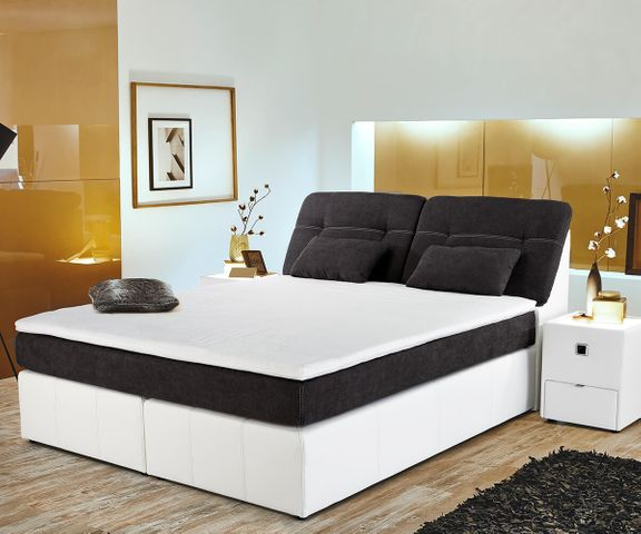 Boxspring-bed Vaito 180x200 wit antraciet matras topper 1