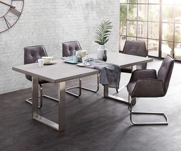 Eettafel Crudo 200x100 cm grijs beton optiek smal frame 1