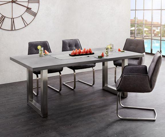 Eettafel Crudo 200x100 cm grijs beton optiek frame breed 1