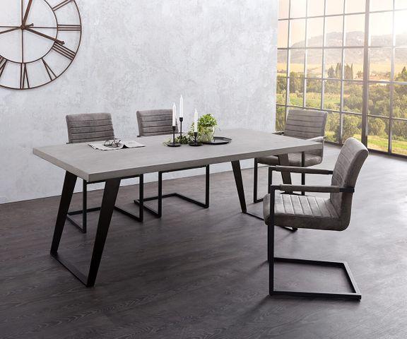 Eettafel Cement-Edge 200x100 cm grijs betonnen frame schuin zwart 1
