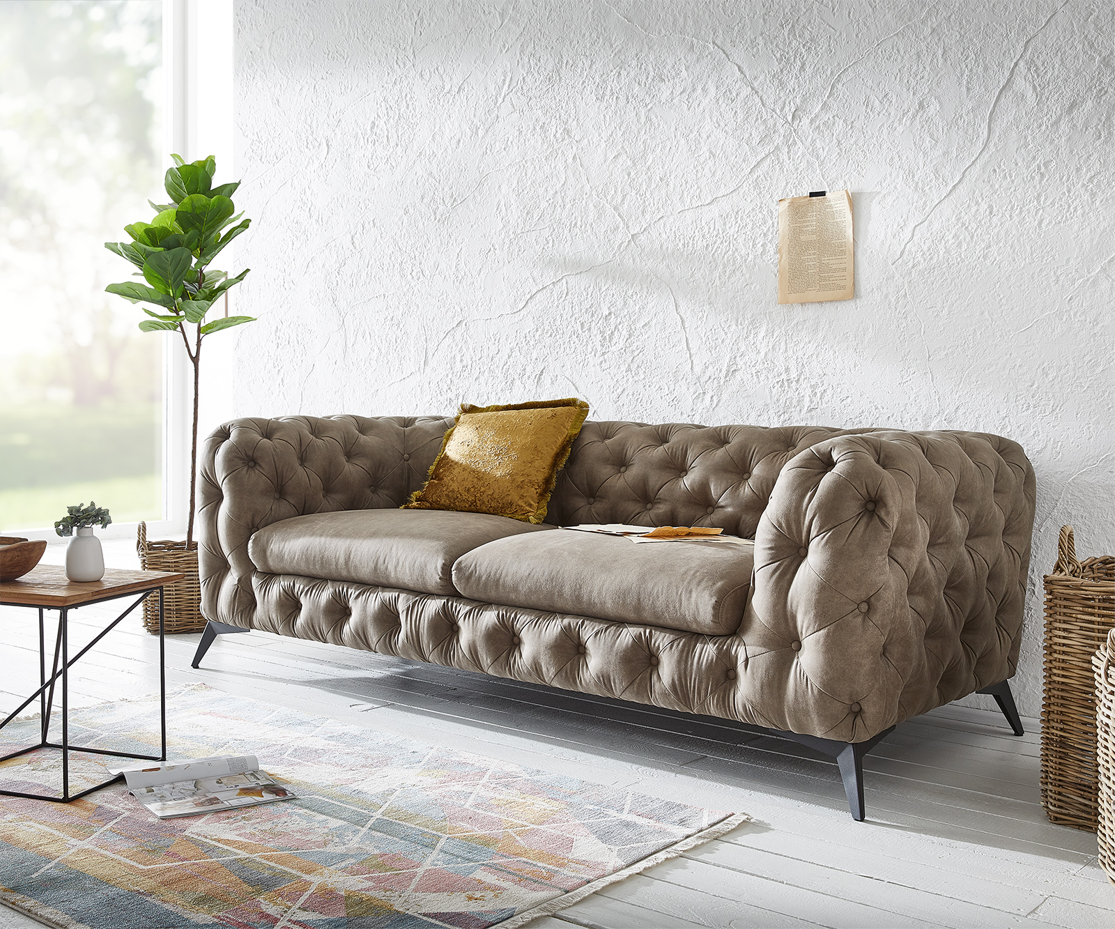 Couch Corleone 3-Sitzer Taupe Vintage