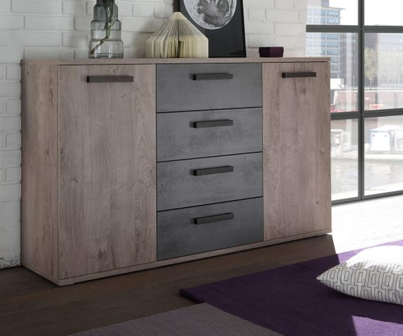 Dressoir Banjul 150 cm eiken decor beton optiek 4 laden 1