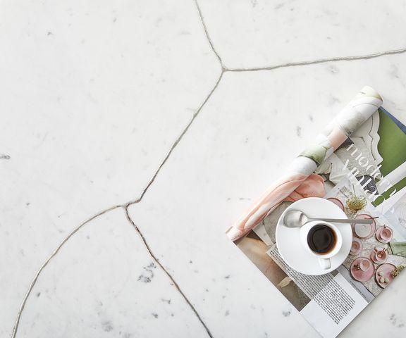 Salontafel Luminoso 80x80 cm marmer wit met metalen frame 2