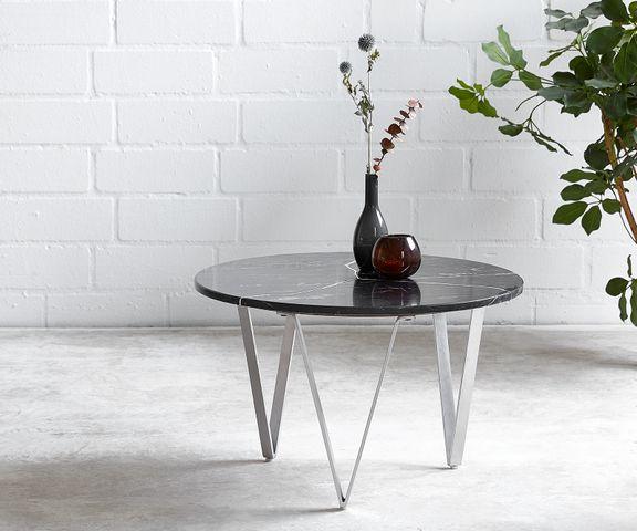 Salontafel Luminoso 60x60 cm marmer zwart met metalen frame 1