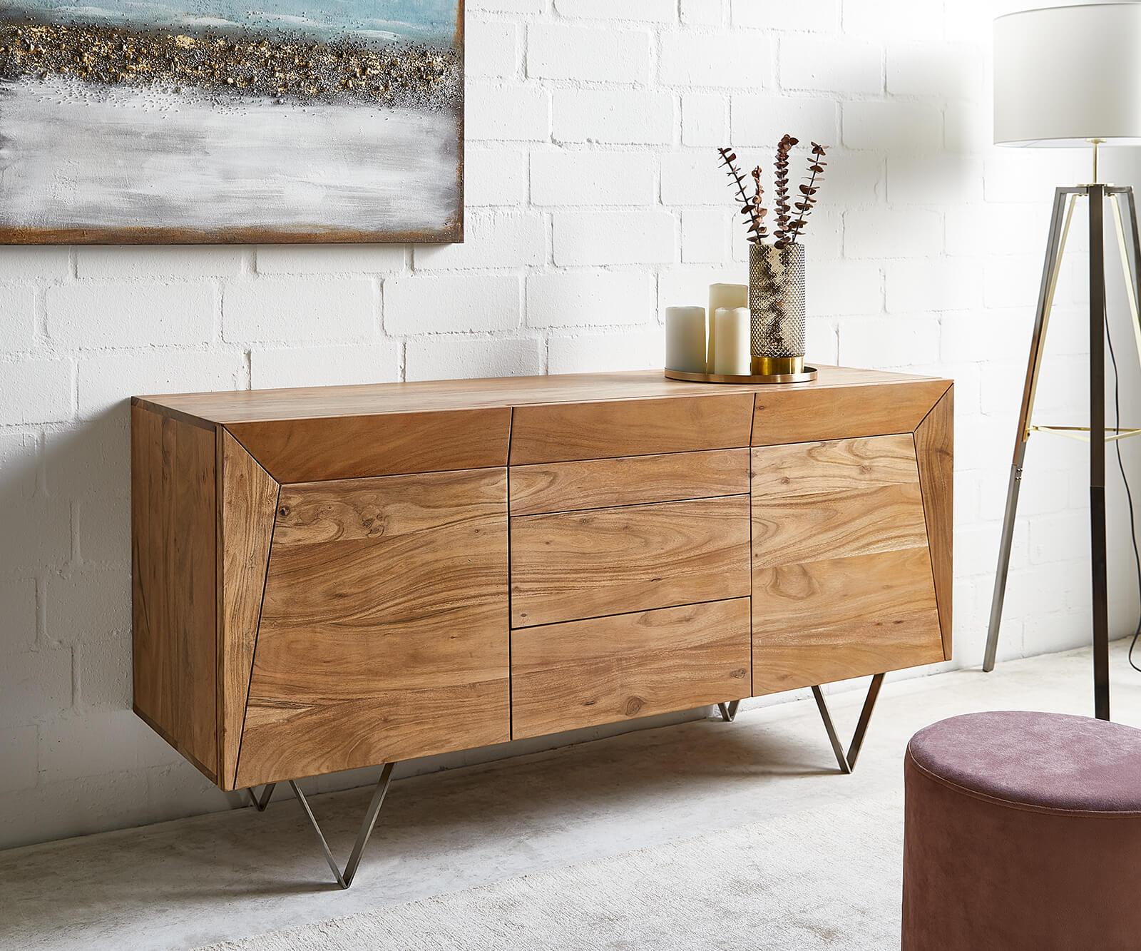 delife-sideboard-wyatt-150x45-cm-akazie-natur-edelstahl-2-turen-sideboards
