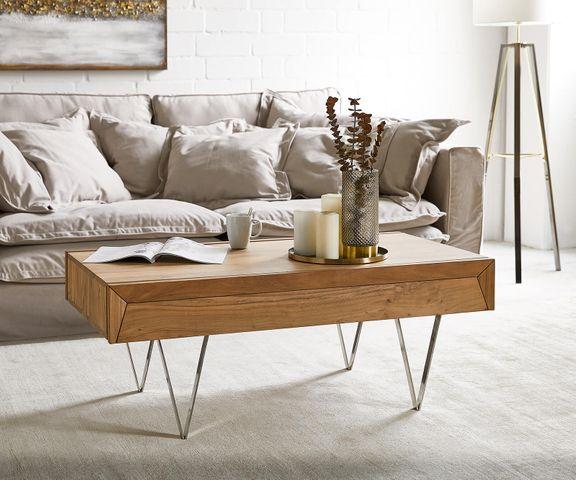 Salontafel Wyatt 115x60 cm acacia natuur RVS 1