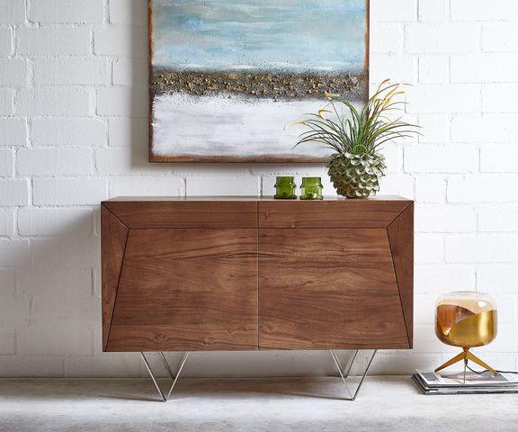 Dressoir Wyatt 115x45 cm acacia bruin roestvrijstaal 2