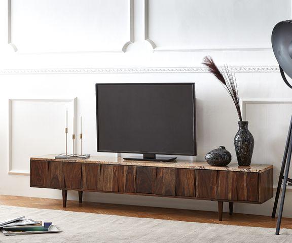 Tv-meubel Shia 200x35 cm sheesham walnoot massief marmer 4 deuren 1