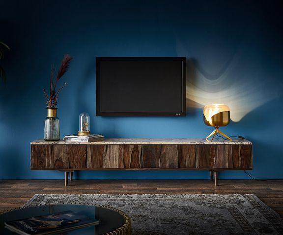 Tv-meubel Shia 200x35 cm sheesham walnoot massief marmer 4 deuren 2