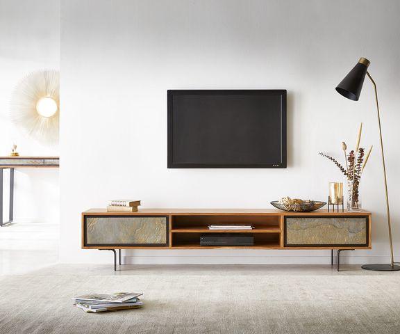 TV-meubel Juwelo 200 cm acacia natuur steenfineer open vak metaal zwart  2
