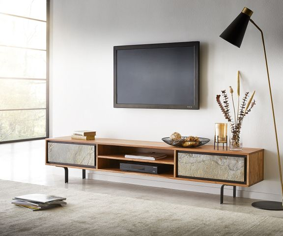 TV-meubel Juwelo 200 cm acacia natuur steenfineer open vak metaal zwart  1