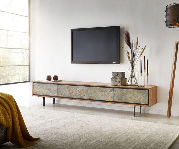 TV-meubel Juwelo 200 cm acacia natuur steenfineer metaal zwart  1
