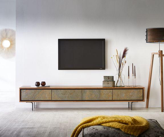 Tv-meubel Juwelo 220 cm acacia natuur steen fineer metaal zwart 1