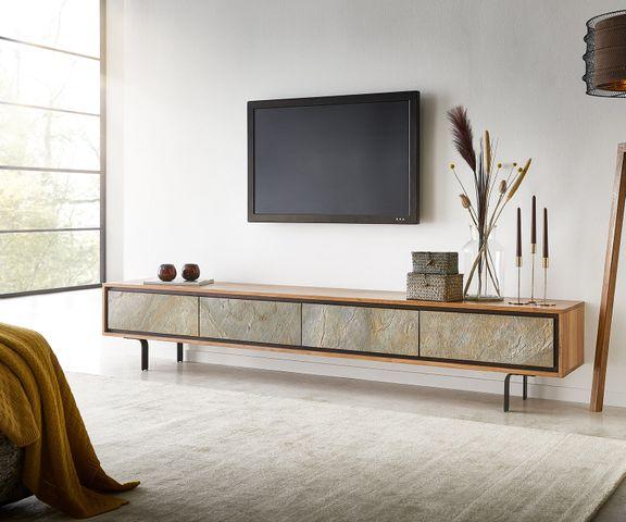 Tv-meubel Juwelo 220 cm acacia natuur steen fineer metaal zwart 2