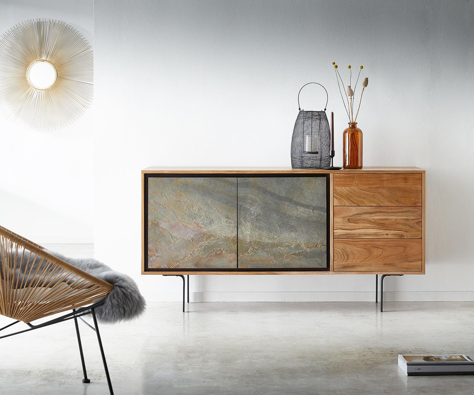 Sideboard Juwelo 150 cm Akazie Natur mit Steinfurnier