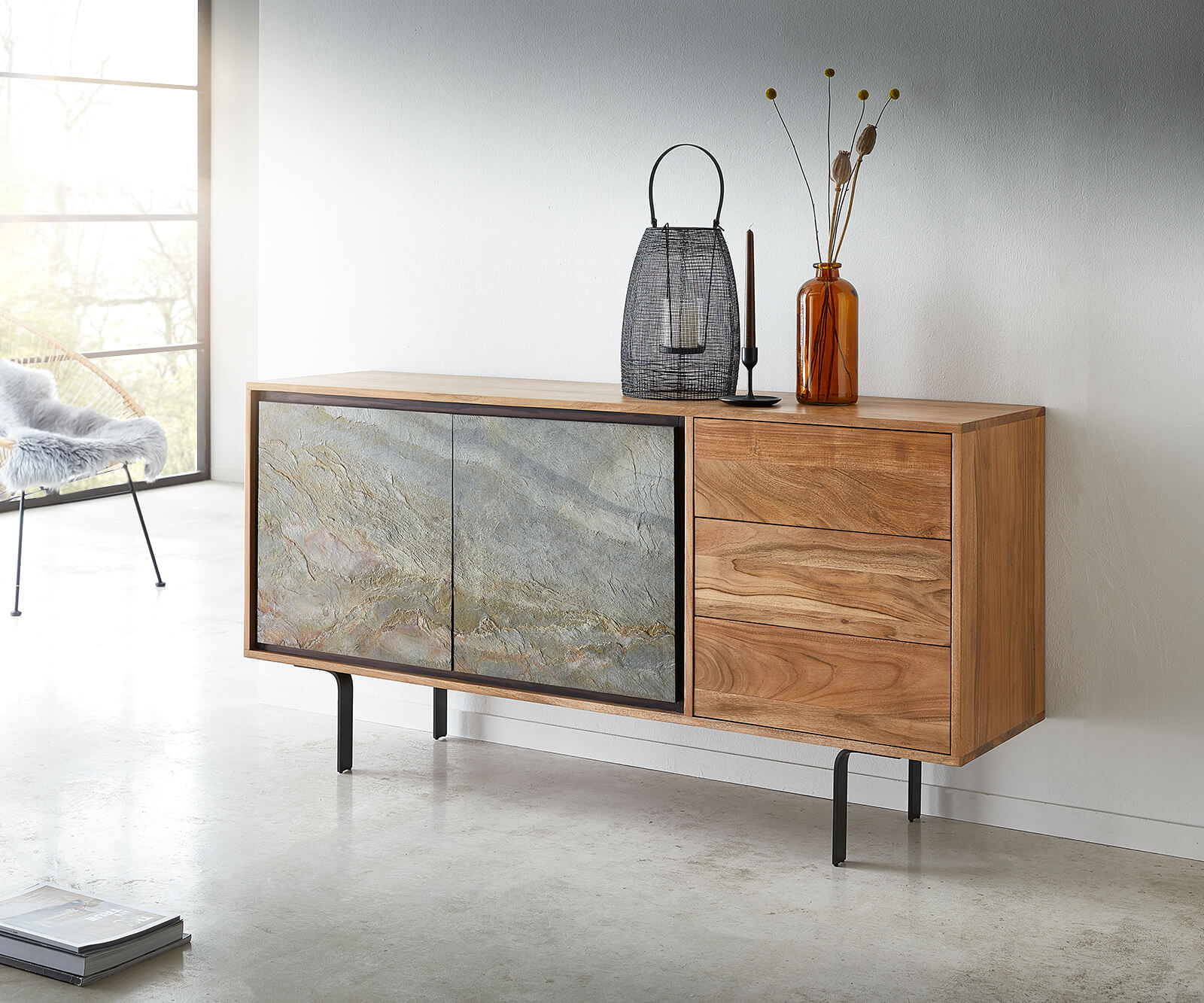 delife-sideboard-juwelo-150-cm-akazie-natur-mit-steinfurnier-sideboards