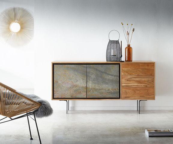Dressoir Juwelo 150 cm acacia natuursteen fineerhout metaal zwart 1