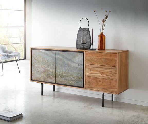 Dressoir Juwelo 150 cm acacia natuursteen fineerhout metaal zwart 2