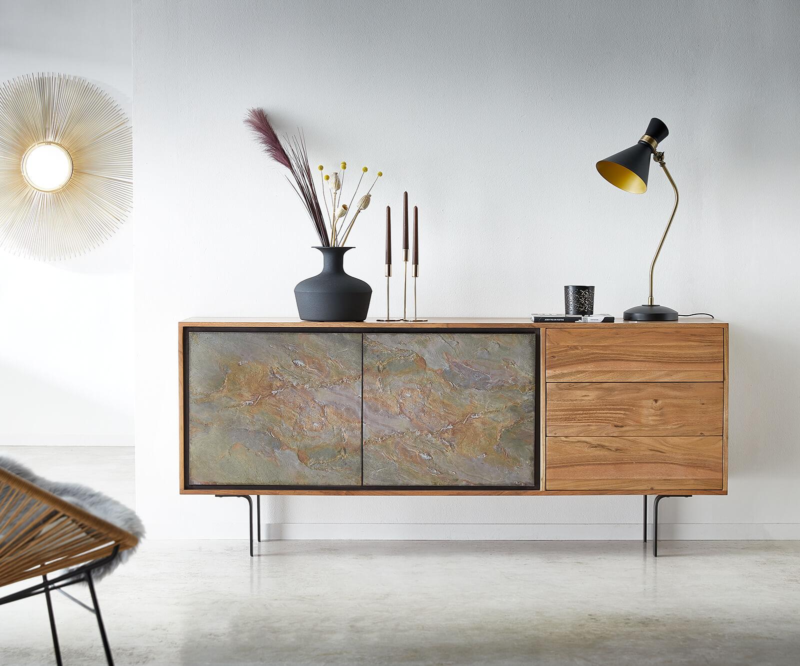 Sideboard Juwelo 175 cm Akazie Natur mit Steinfurnier