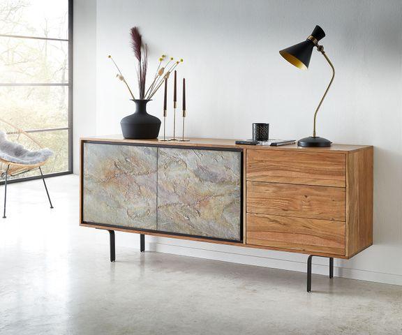 Dressoir Juwelo 175 cm acacia natuur steenfineer hout metaal zwart 2