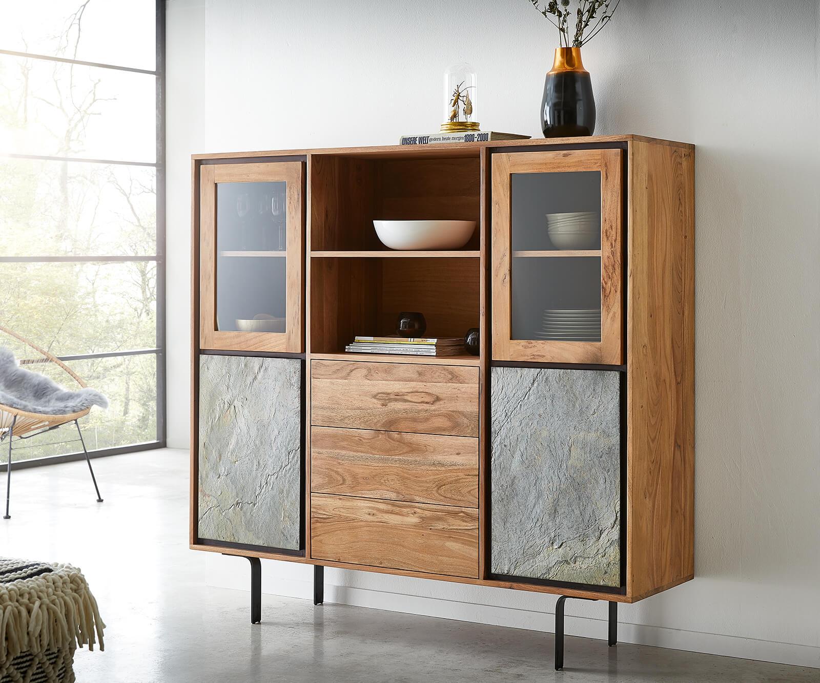 delife-vitrine-juwelo-147-cm-akazie-natur-mit-steinfurnier-highboard-vitrinen