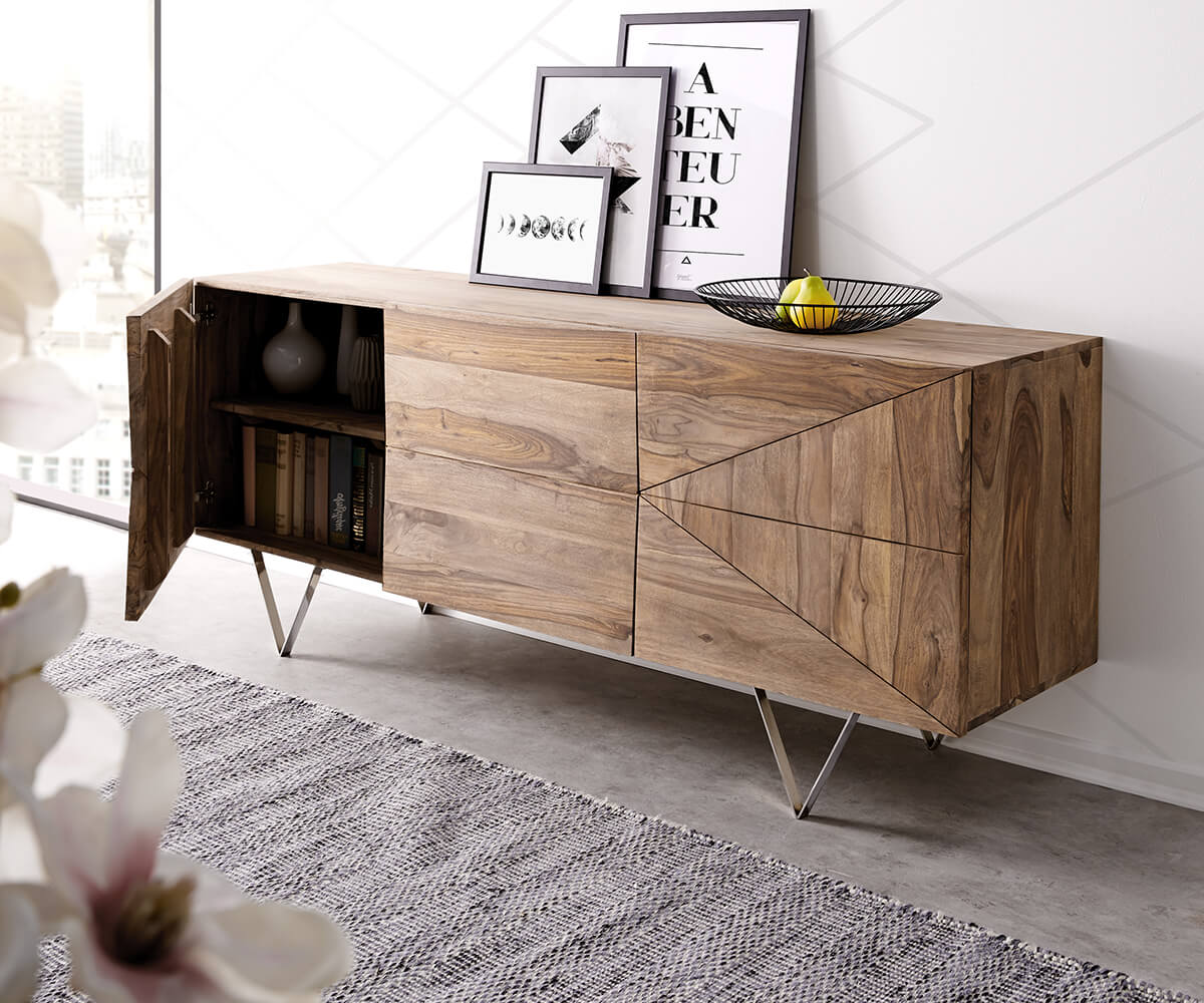 designer sideboard wyatt 175 cm sheesham natur 2 t ren 2 sch be m bel kommoden schr nke sideboards. Black Bedroom Furniture Sets. Home Design Ideas