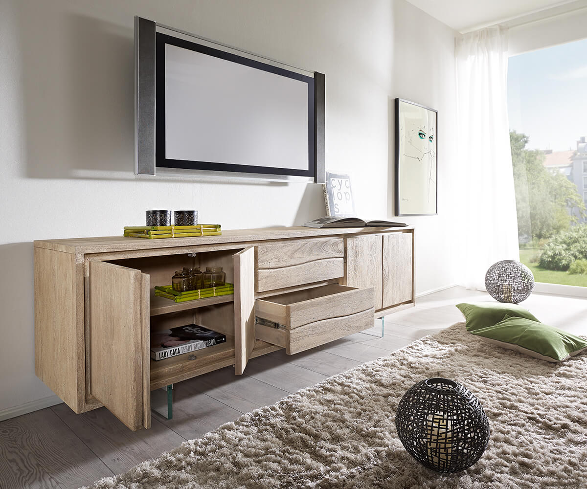 lowboard live edge 200 cm akazie champagner 4 t ren 2 sch be glasbeine m bel tische fernsehtische. Black Bedroom Furniture Sets. Home Design Ideas