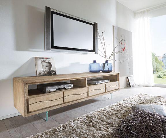 TV-meubel Live-Edge 190 cm acacia champagne 2 vakken 4 schuiven glaspoten 1