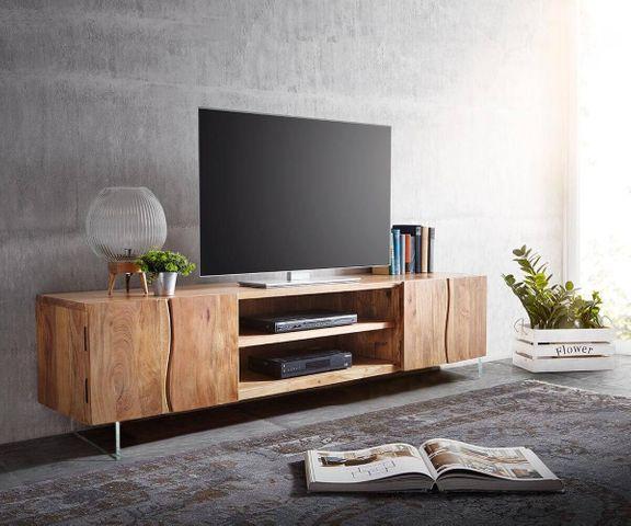 TV-meubel Live-Edge 200 cm acacia natuur 4 deuren 2 vakken glazen poten 1
