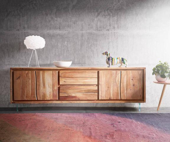 Tv-tafel Live-Edge 200 cm acacia natuur 4 deuren 2 lades glazen poten 2