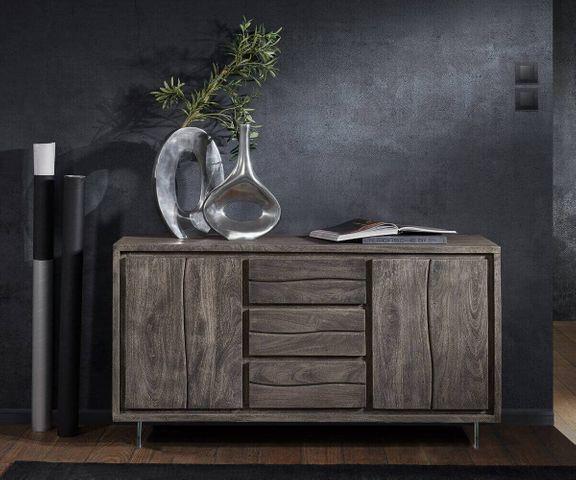 Dressoir Live-Edge 147 cm acacia platina 3 laden 2 deuren glazen poten 2