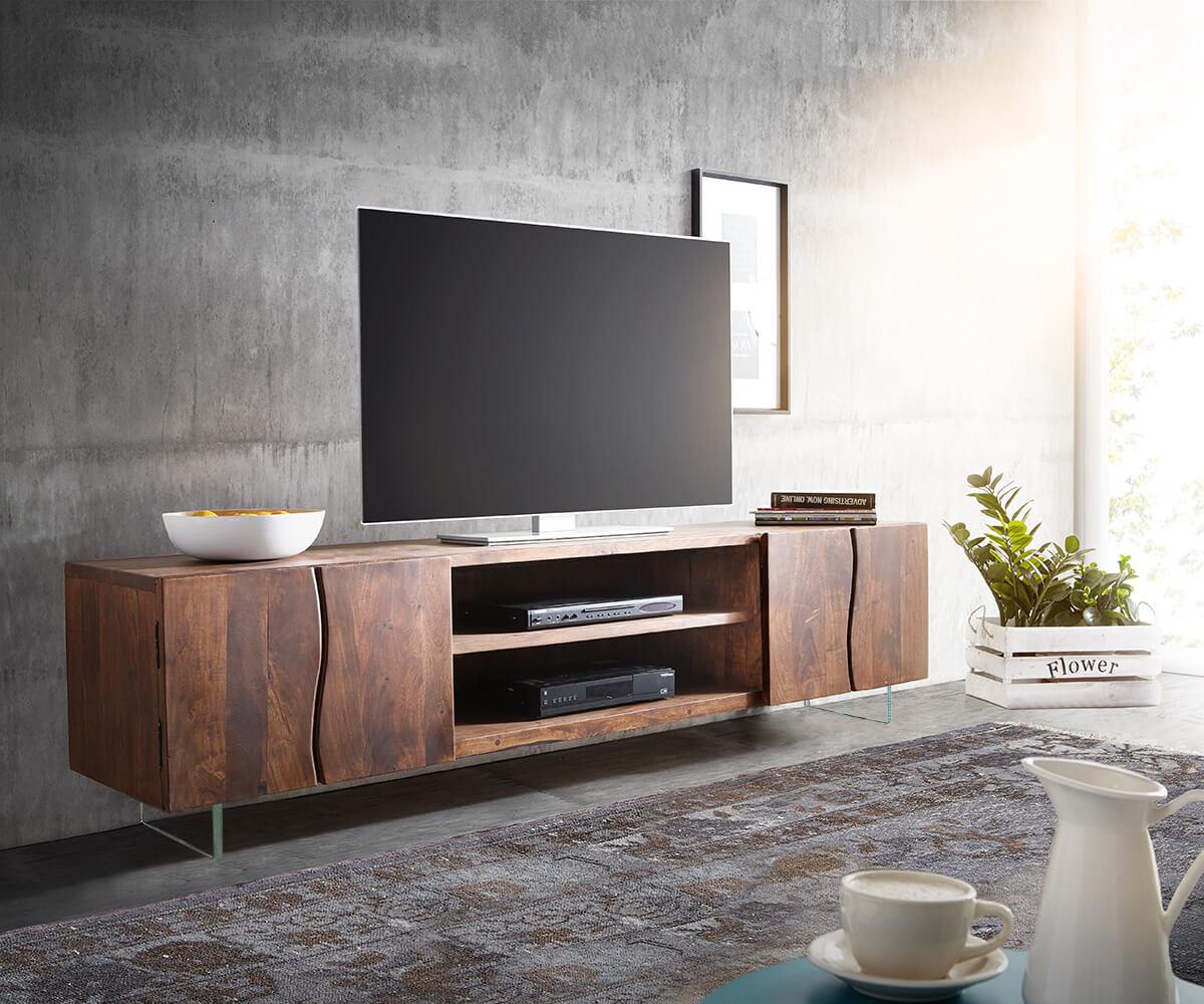 Tv-meubel Live-Edge 200 cm acacia bruin 4 deuren 2 compartimenten glaspoten