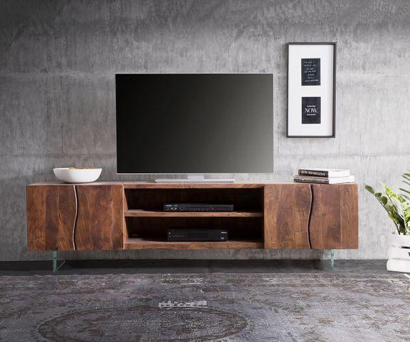 Tv-meubel Live-Edge 200 cm acacia bruin 4 deuren 2 compartimenten glaspoten 2