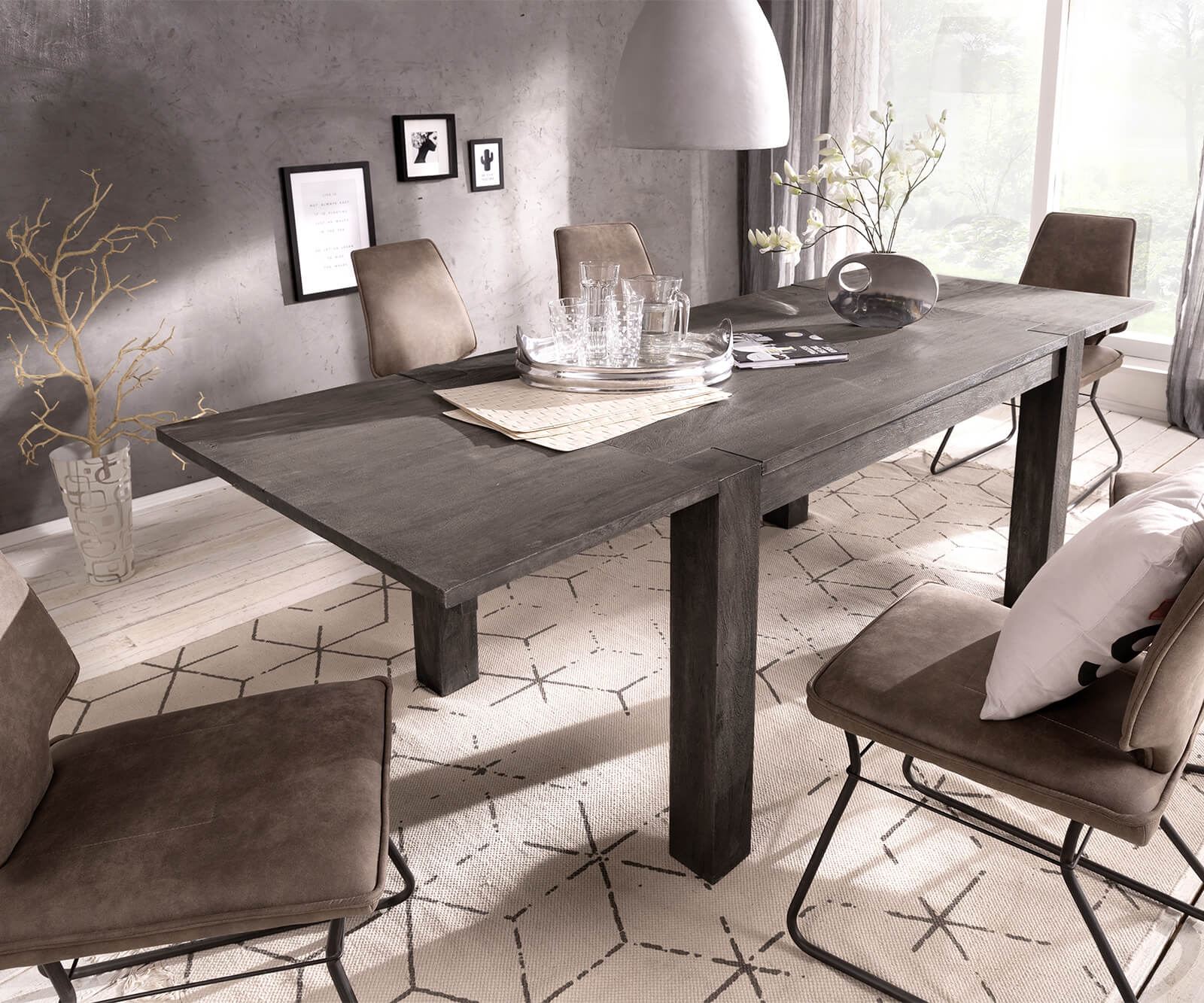 esstisch indra akazie platin 140 240x90 ausziehbar massiv. Black Bedroom Furniture Sets. Home Design Ideas