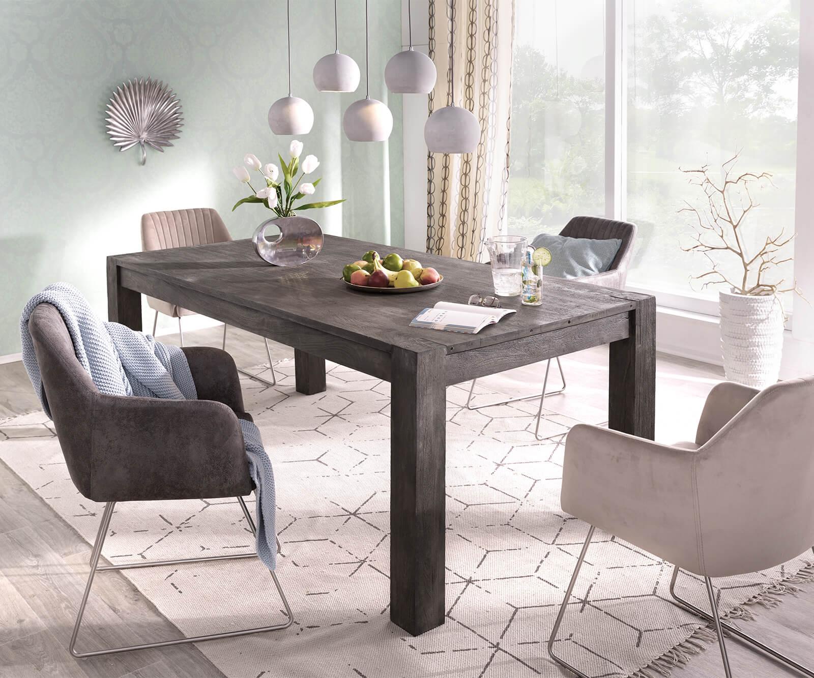 esstisch indra akazie platin 200 300x100 ausziehbar massiv. Black Bedroom Furniture Sets. Home Design Ideas