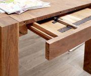 Esszimmertisch Indra Akazie Braun 200/300x100 cm Massivholz ausziehbar Esstisch [12991]