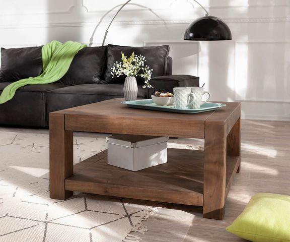 Koffietafel Indra acacia bruin 80x80 massief houten plankje 2