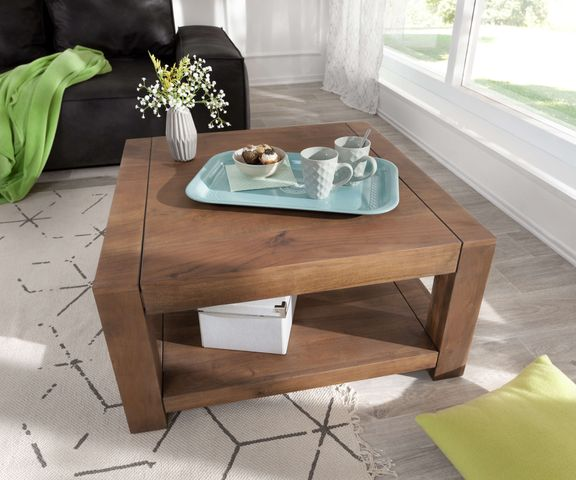 Koffietafel Indra acacia bruin 80x80 massief houten plankje 1