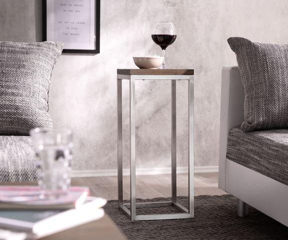 Deco-tafel Tatius 28x28 cm acacia bruin industriële stijl 1