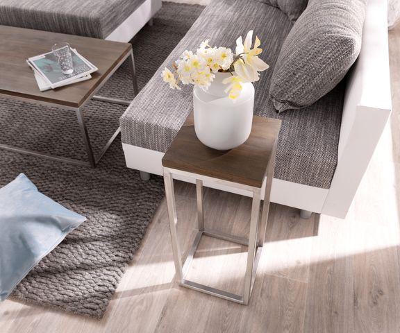 Deco-tafel Tatius 28x28 cm acacia bruin industriële stijl 2