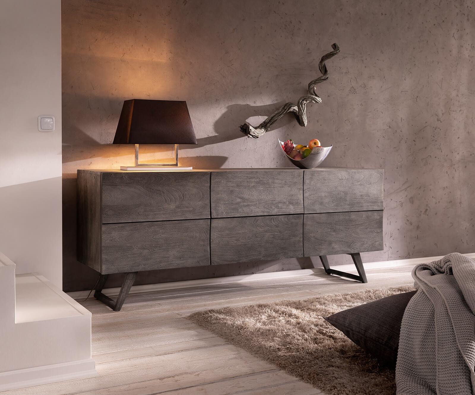Designer-dressoir Wyatt 177 cm acacia platina 2 deuren
