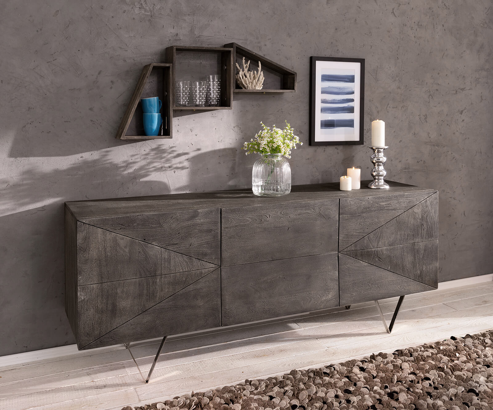 delife-design-sideboard-wyatt-175-cm-3d-optik-mittig-akazie-platin-edelstahl-sideboards