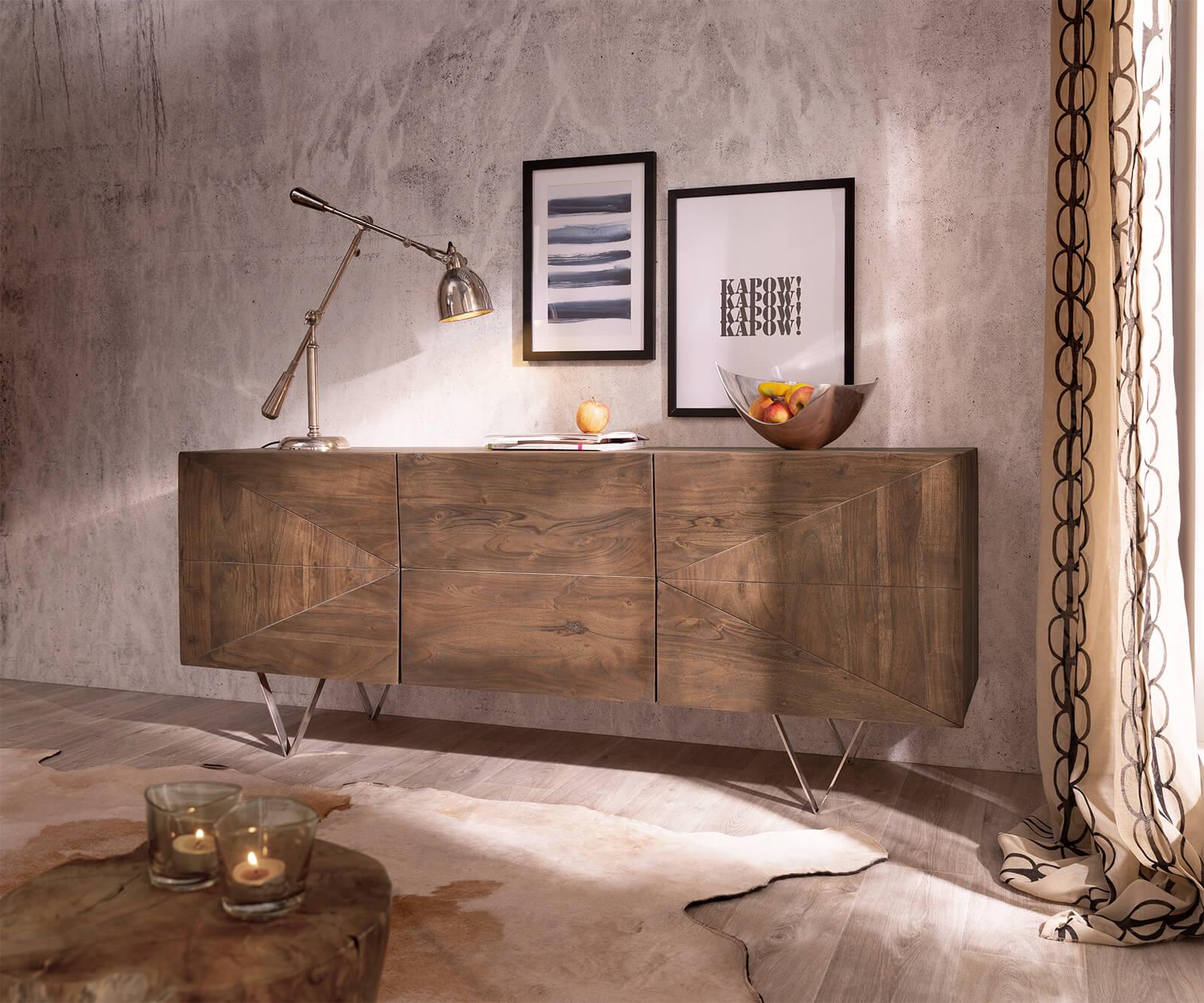 delife-design-sideboard-wyatt-175-cm-3d-optik-mittig-akazie-braun-edelstahl-sideboards
