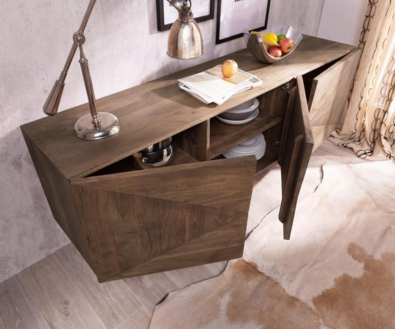Design-dressoir Wyatt 175 cm 3D optiek acacia bruin roestvrij staal 3