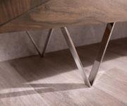 Kommode Wyatt Akazie Braun 175 cm 3D Optik mittig Edelstahl Design Sideboard [13072]