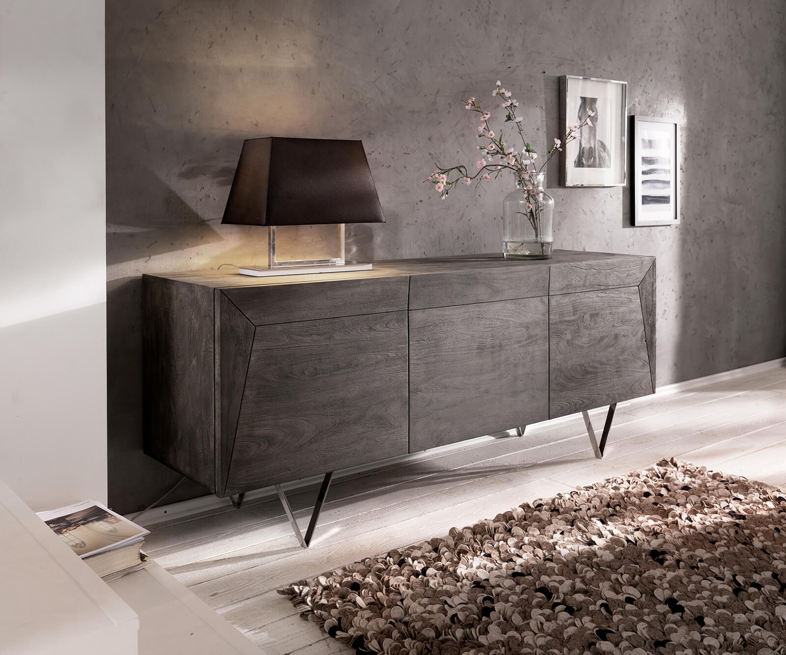 delife-design-sideboard-wyatt-175-cm-akazie-platin-3d-optik-oben-edelstahl-sideboards